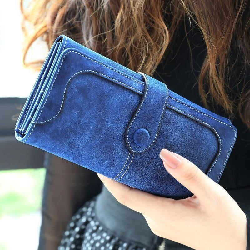 Glamour Stitch Many Departments Faux Suede Long Wallet Women Matte Leather Lady Purse High Quality Female Wallets Card Holder Clutch Carteras