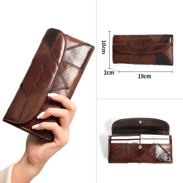 Glamour Stitch multicolor / Russian Federation Genuine Leather Women Clutch Wallet Vintage Long Style Female Coin Purse Clamp Card Holders For Phone Bag Ladies Handy Purse