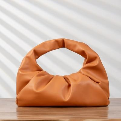 Glamour Stitch Orange shoulder bag Retro Soft Leather Clutch