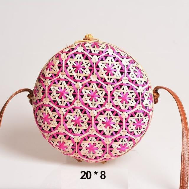 Glamour Stitch Pink Realer Women Bag Rattan Woven Bag for Summer Straw Bag Bohemia Beach Bag for Travel Crossbody Bag Round Bamboo for Ladies 2020