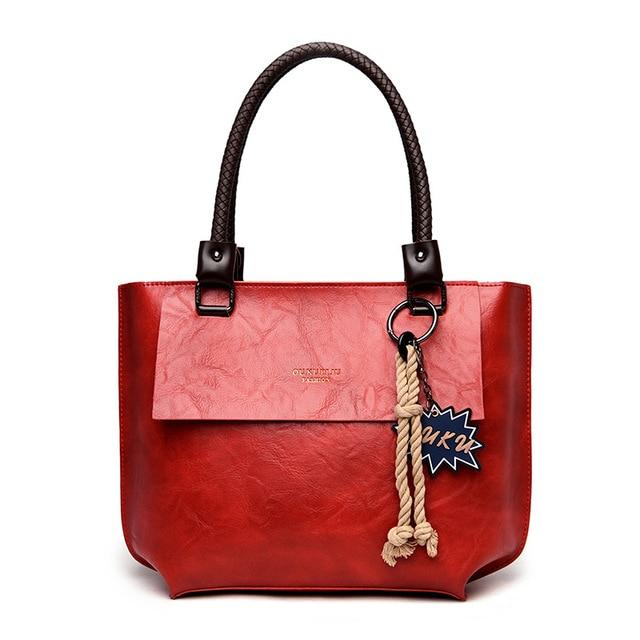 Glamour Stitch Red / 40X10X28CM 2020 Women's Tote Bag Leather New Luxury Handbags Large Women's Shoulder Bag Fashion Vintage Female Shoulder Bag Designer