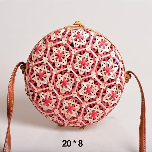 Glamour Stitch Red Realer Women Bag Rattan Woven Bag for Summer Straw Bag Bohemia Beach Bag for Travel Crossbody Bag Round Bamboo for Ladies 2020
