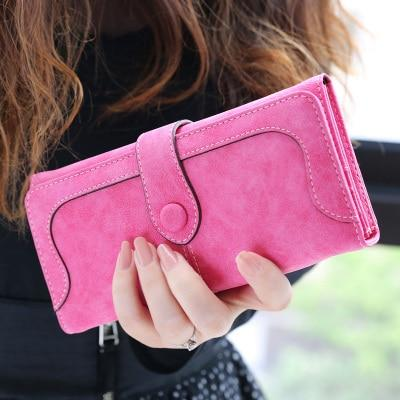 Glamour Stitch Rose Many Departments Faux Suede Long Wallet Women Matte Leather Lady Purse High Quality Female Wallets Card Holder Clutch Carteras