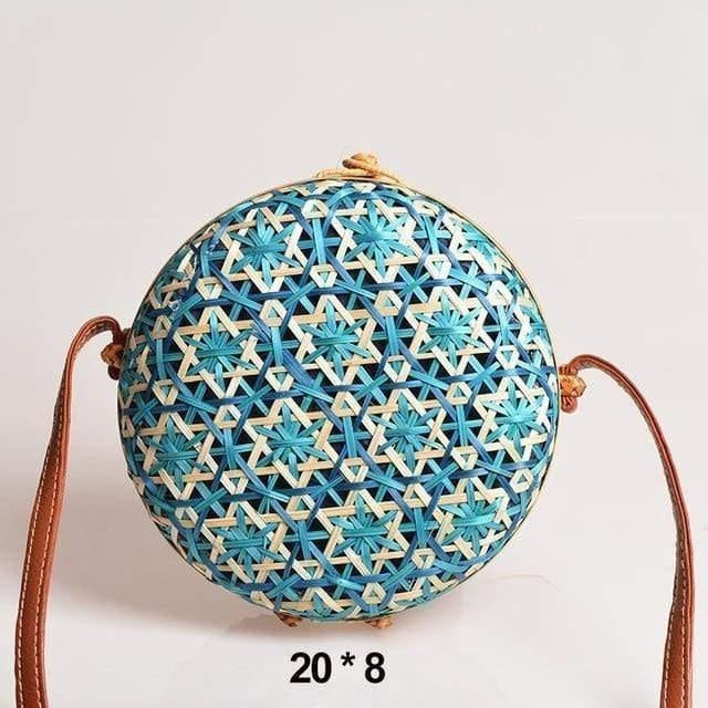 Glamour Stitch Sky Blue Realer Women Bag Rattan Woven Bag for Summer Straw Bag Bohemia Beach Bag for Travel Crossbody Bag Round Bamboo for Ladies 2020