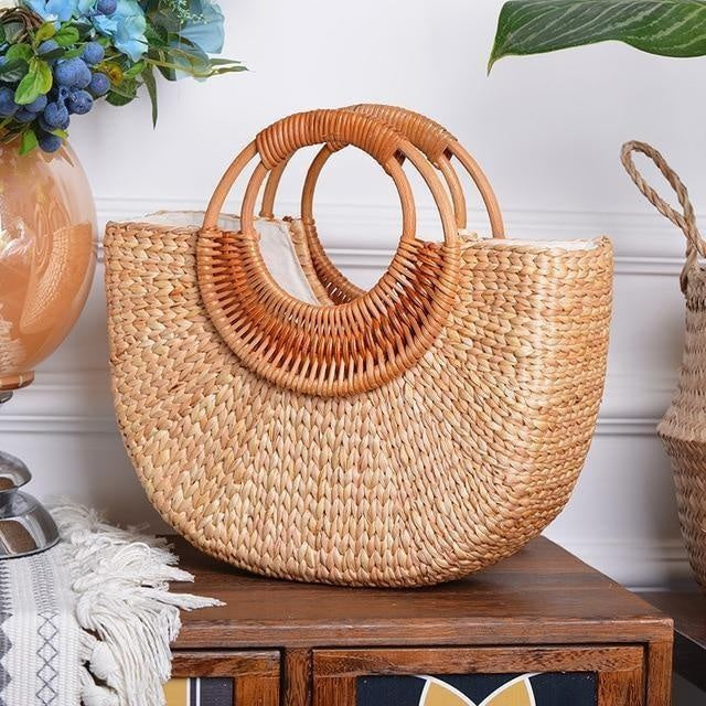 Glamour Stitch small Woven Straw shoulder bag