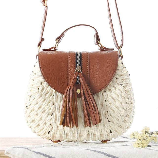 Glamour Stitch white / 19x9x17cm Wicker Crossbody Bag