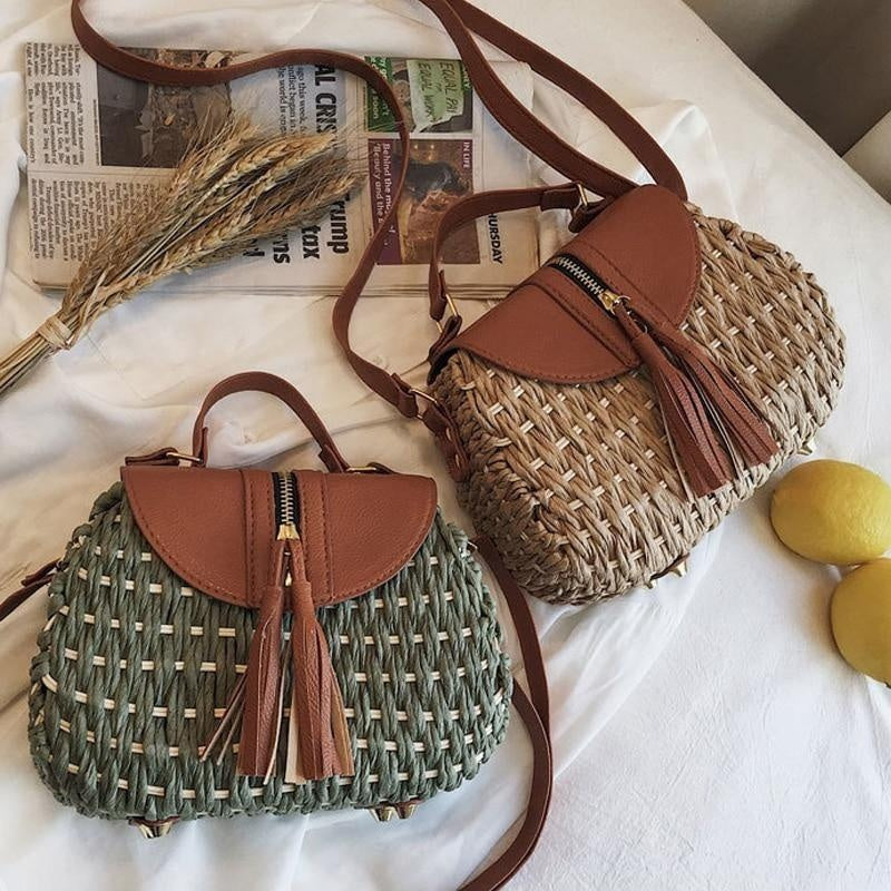 Glamour Stitch Wicker Crossbody Bag