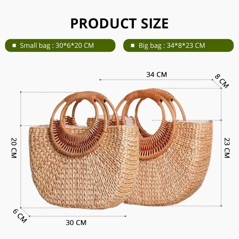 Glamour Stitch Woven Straw shoulder bag