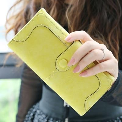 Glamour Stitch Yellow Many Departments Faux Suede Long Wallet Women Matte Leather Lady Purse High Quality Female Wallets Card Holder Clutch Carteras