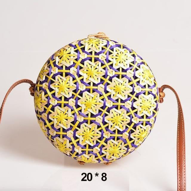 Glamour Stitch Yellow Realer Women Bag Rattan Woven Bag for Summer Straw Bag Bohemia Beach Bag for Travel Crossbody Bag Round Bamboo for Ladies 2020