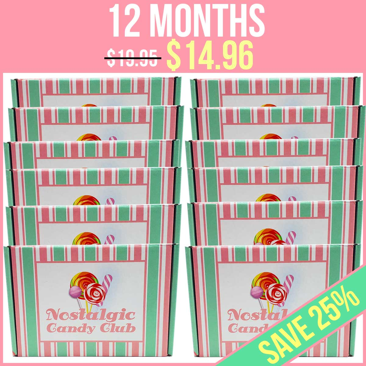 Nostalgic Candy Club 12 Month Subscription