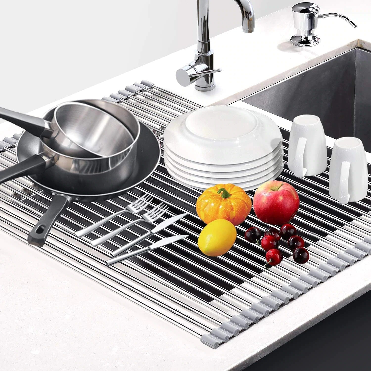 Roll-Up Dish Drying Rack-Over the sink