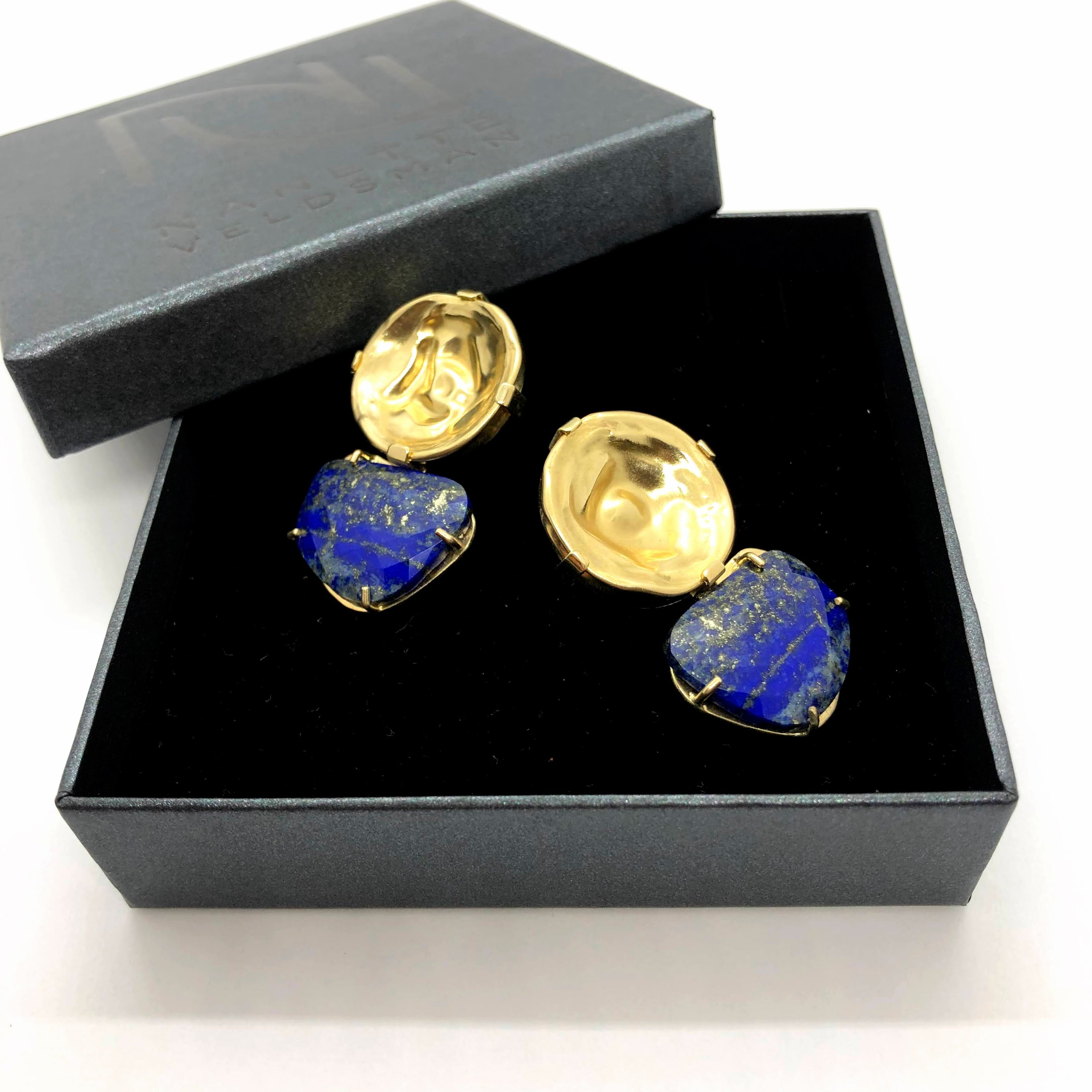 GALAXY: One of a kind Gold and Lapis Lazuli Earrings