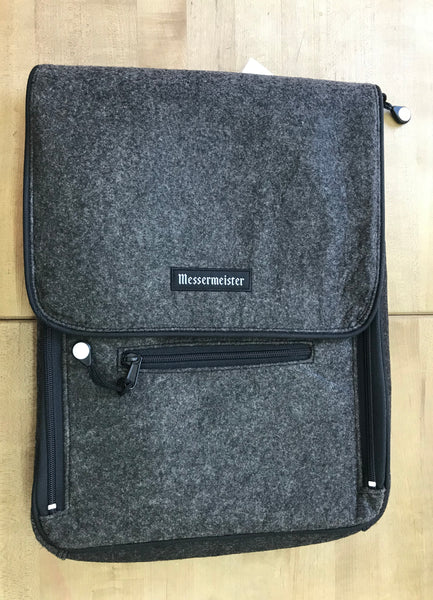 Messermeister 6 Pocket Charcoal Felt Messanger Bag