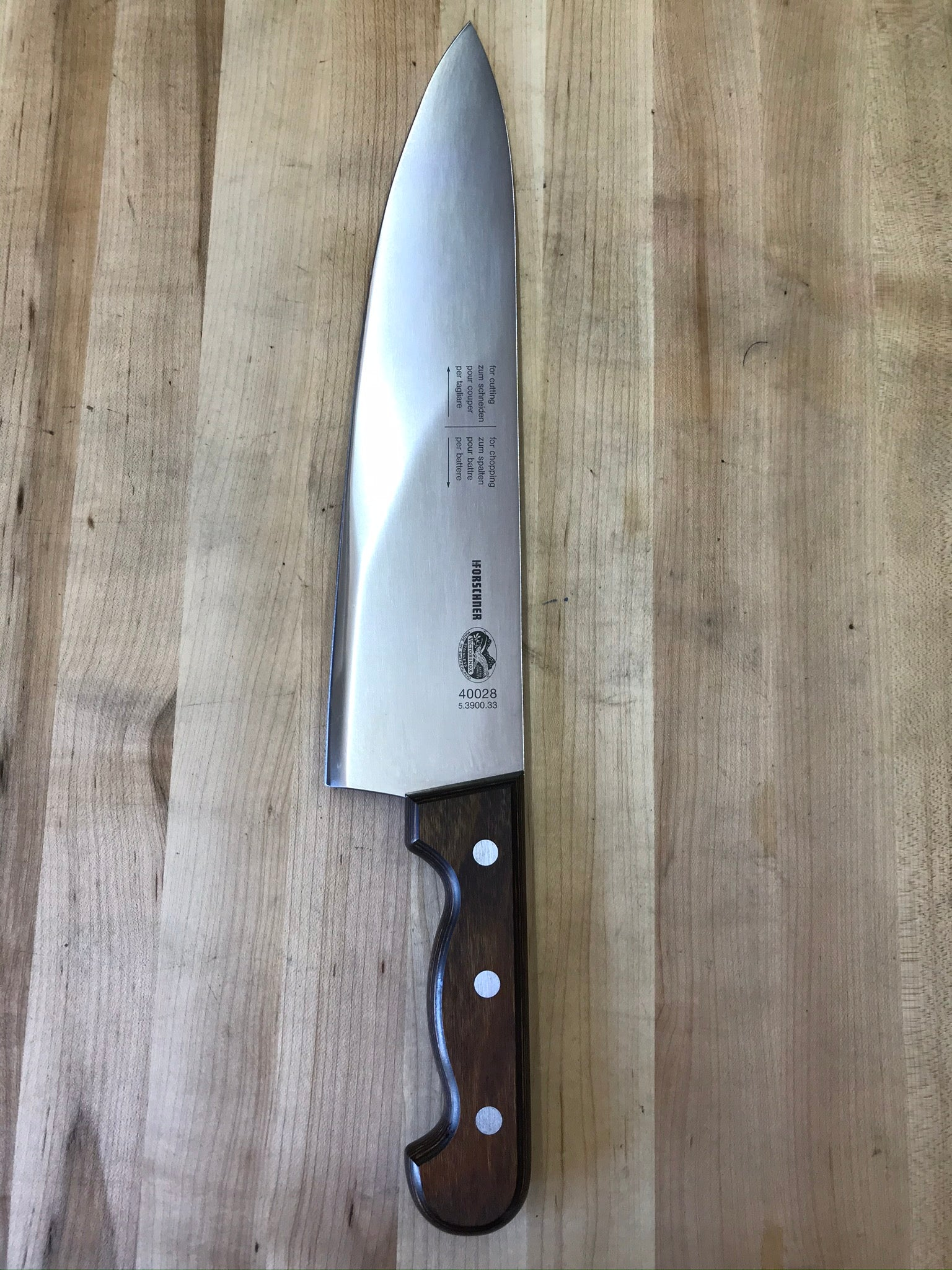 "Victorinox Rosewood 12.75"" Heavy Lobster Splitting Chef's Knife"