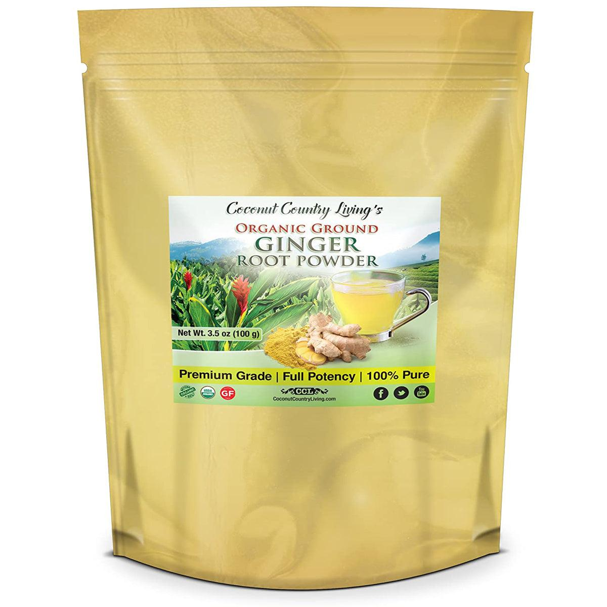 CCL Organic Ginger Root Powder - Raw Spice for Health, Beauty, Cooking - Free E-Book - USDA - USPS Shipping