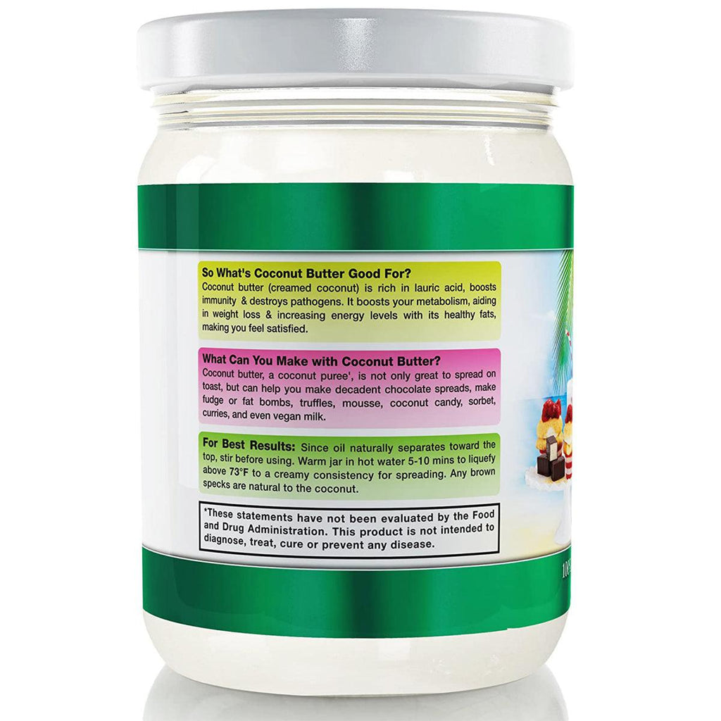 CCL Organic Coconut Butter - Raw Stone Ground Pureed - Free E-Book - USDA - USPS Shipping