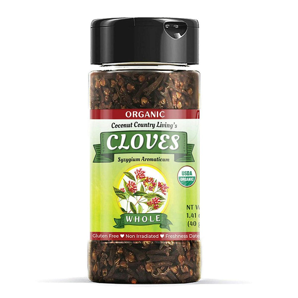 CCL Organic Cloves Whole Raw Glass Jar - Premium Quality Spice - Free E-Book - USDA - USPS Shipping