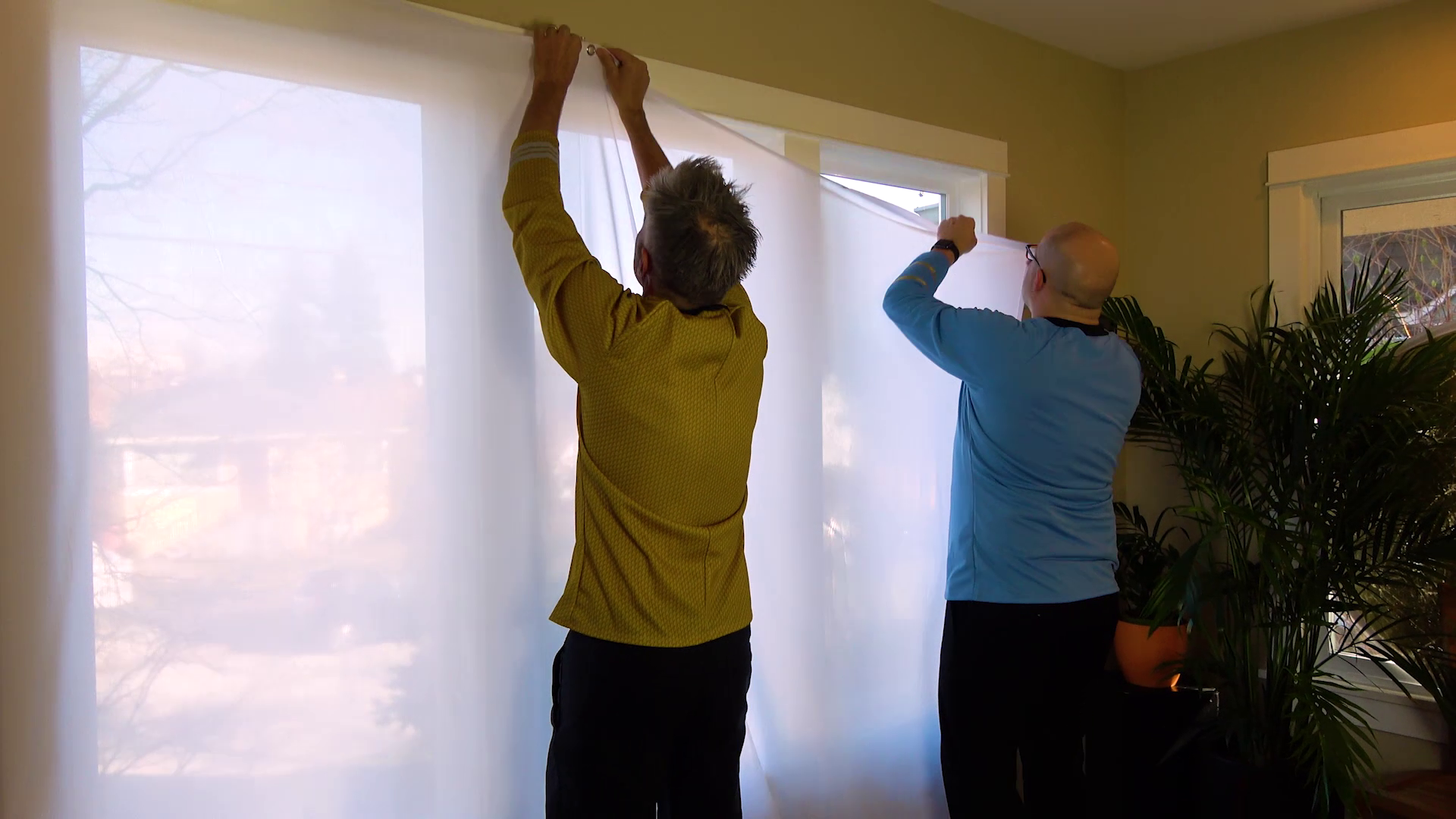 Enlist the help of your crew when hanging your Window Projection Material XL