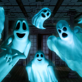 7 blue/white sheet ghosts flying around
