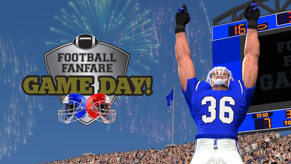 Football Fanfare Game Day logo and football player in blue uniform