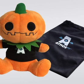 Gourdy the pumpkin plushie and black bag with AtmosFX logo