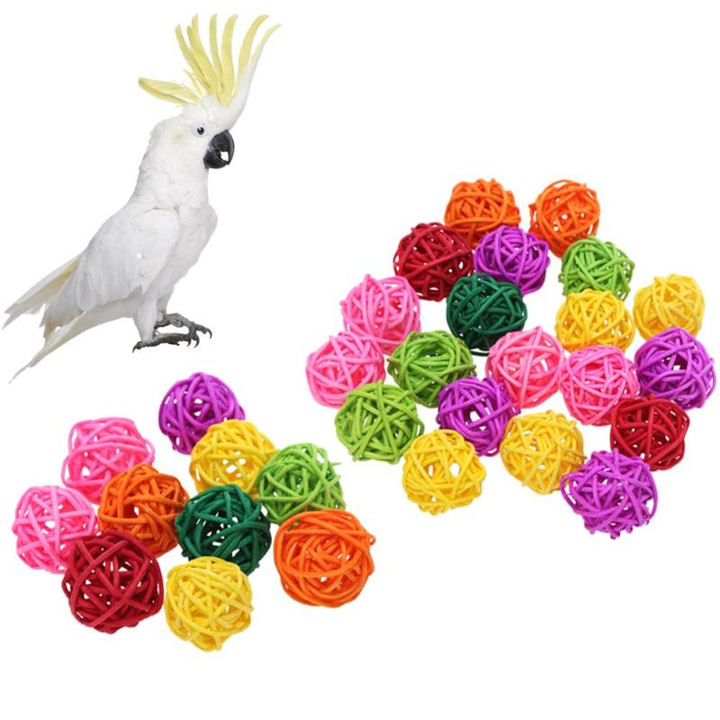 Rattan Chew Ball Toys for Parrots - giftsforrpets