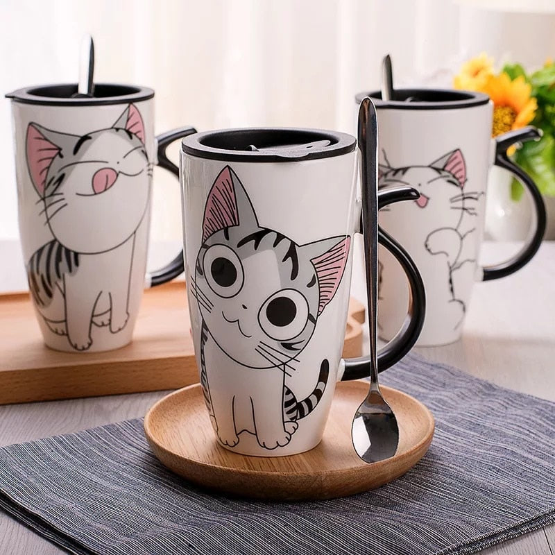 600ml Creative Cat Ceramic Mug With Lid and Spoon . - giftsforrpets