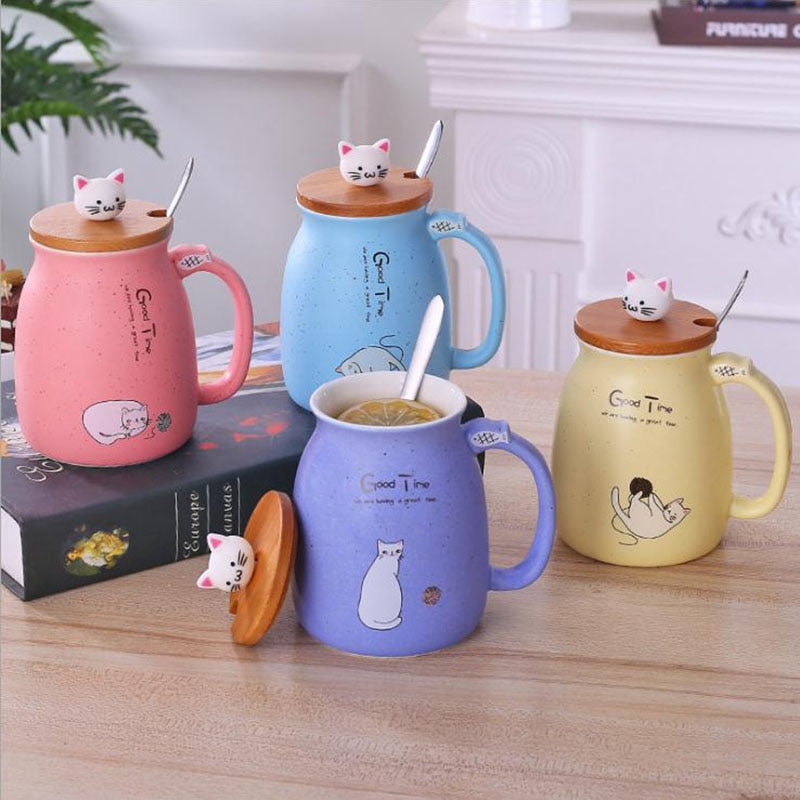 Cute Ceramic Cat Mug With Lid . - giftsforrpets