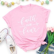 Load image into Gallery viewer, Faith Over Fear Christian Women's T-Shirt - SimplyInspireNow