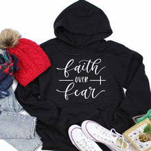 Load image into Gallery viewer, Faith over Fear Christian Hoodie - SimplyInspireNow