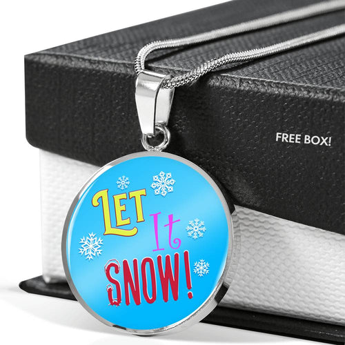 Let It Snow Pendant Necklace - Personalize it by Engraving the Back