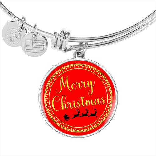 Merry Christmas Bangle Bracelet with Santa & Reindeer - Personalize it by Engraving the Back