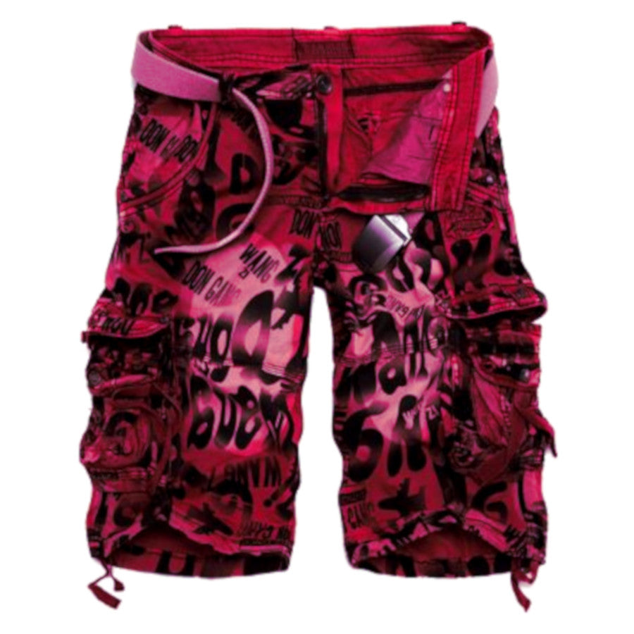 Red Camouflage Cargo Shorts