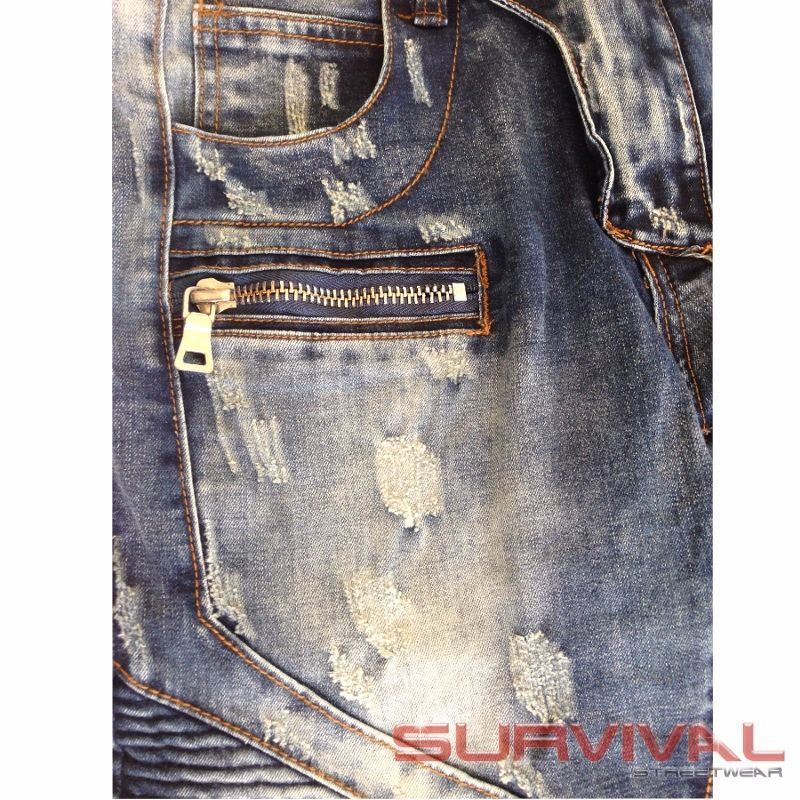 Biker Destroyed Blue Slim Fit Jeans
