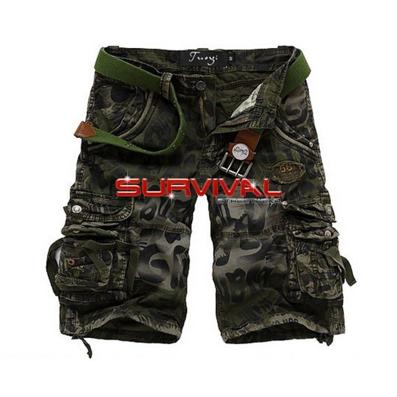 Green Camouflage Cargo Shorts