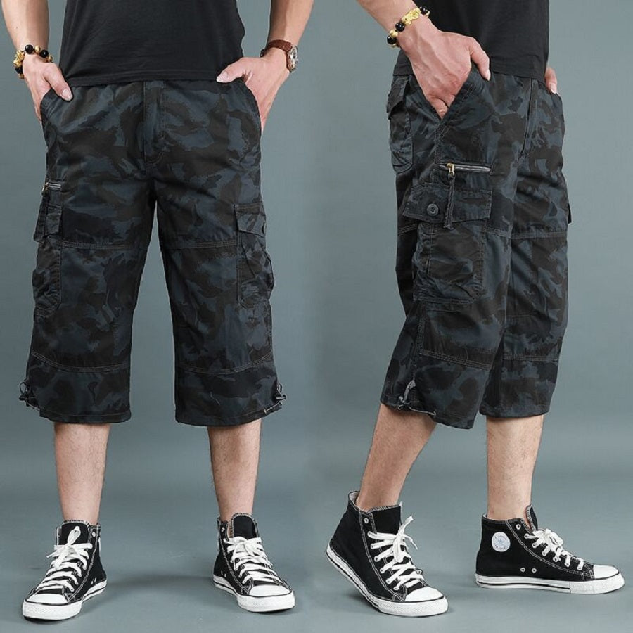 mens 3/4 length cargo shorts camouflage