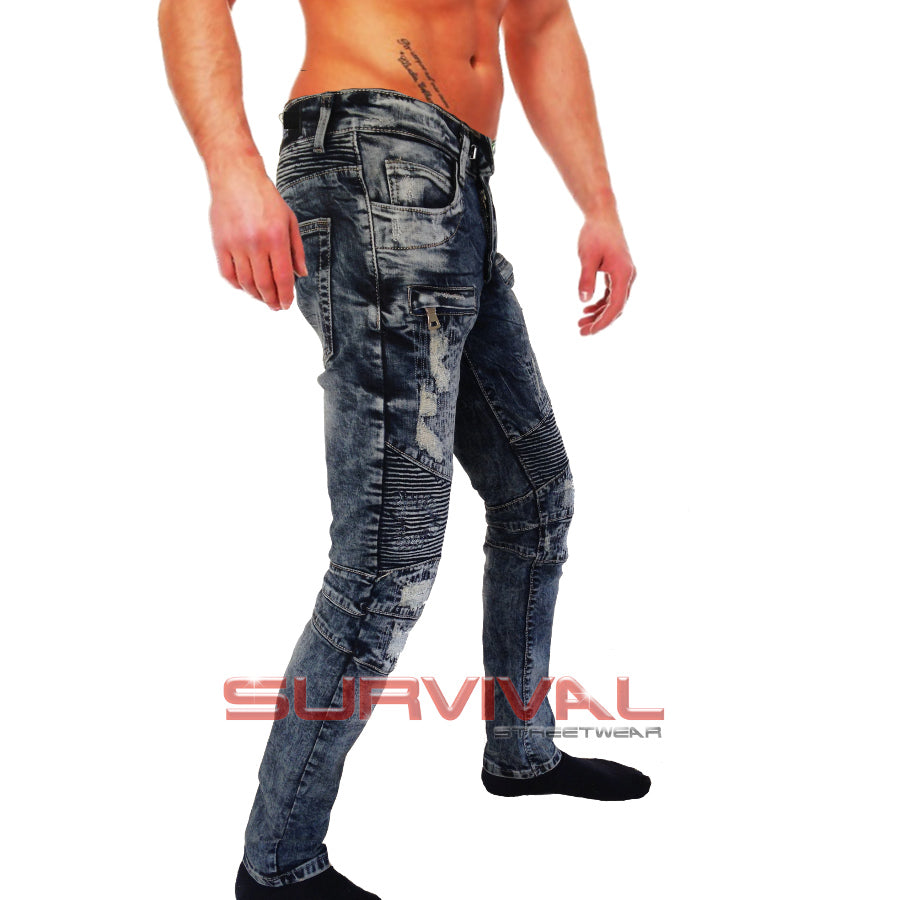 Biker Destroyed Navy Slim Fit Jeans