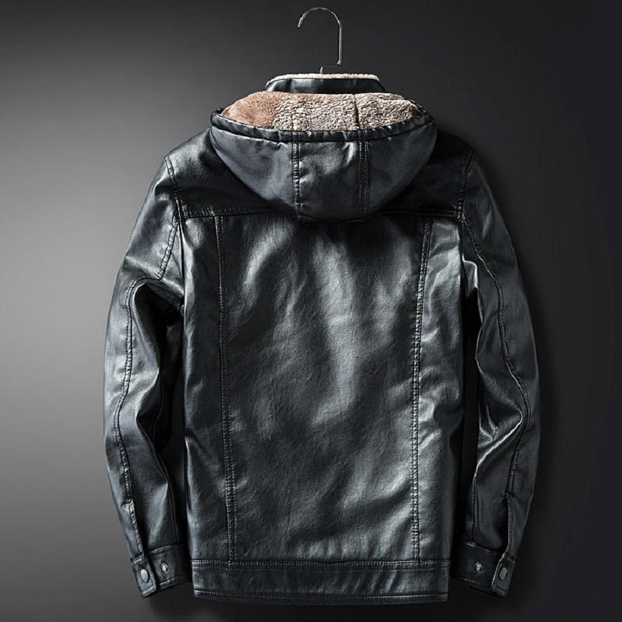 Faux Leather Fleece Lined Jacket