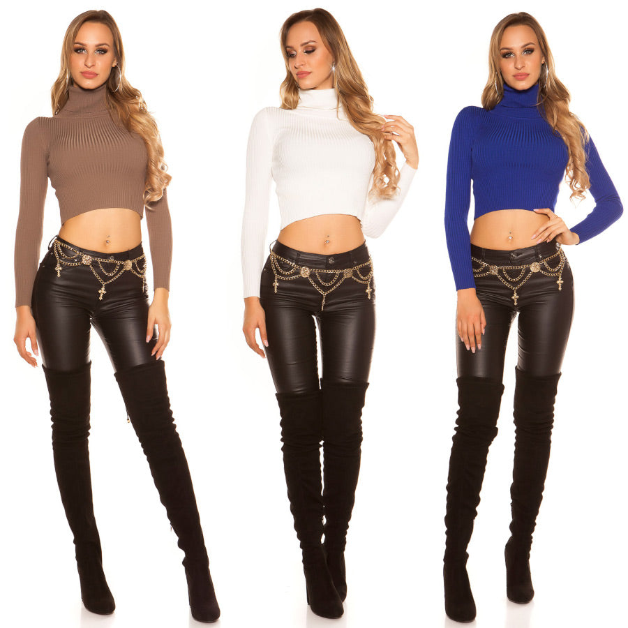 Long Sleeve Cropped Turtleneck Jumper