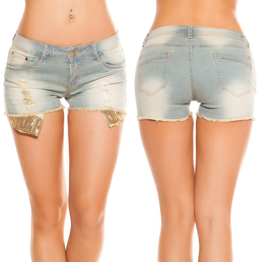 Blue Washed Ripped Hot Pants