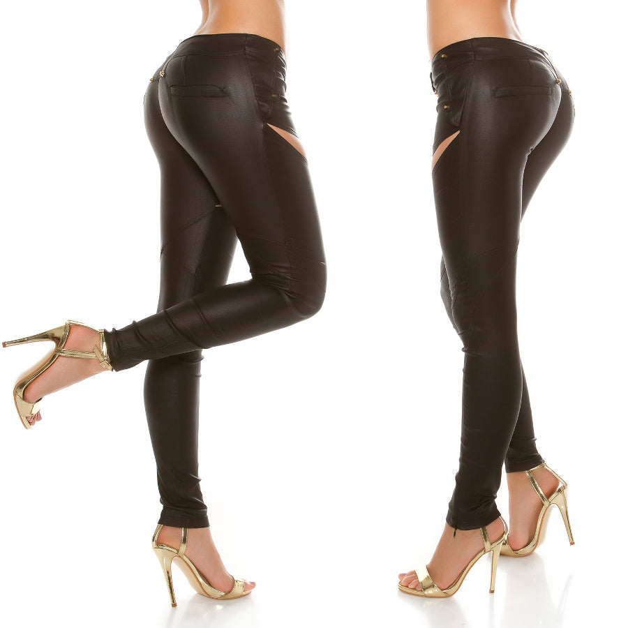 Black Skinny Wet Look Pants