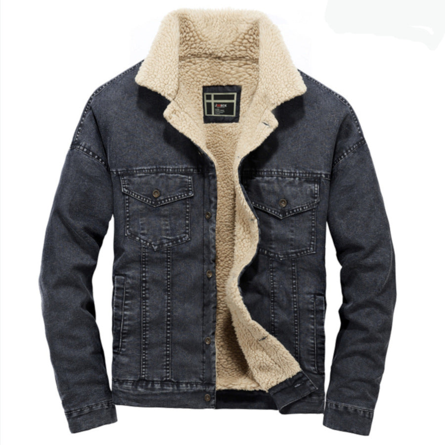 Denim Fleece Lined Collared Jacket