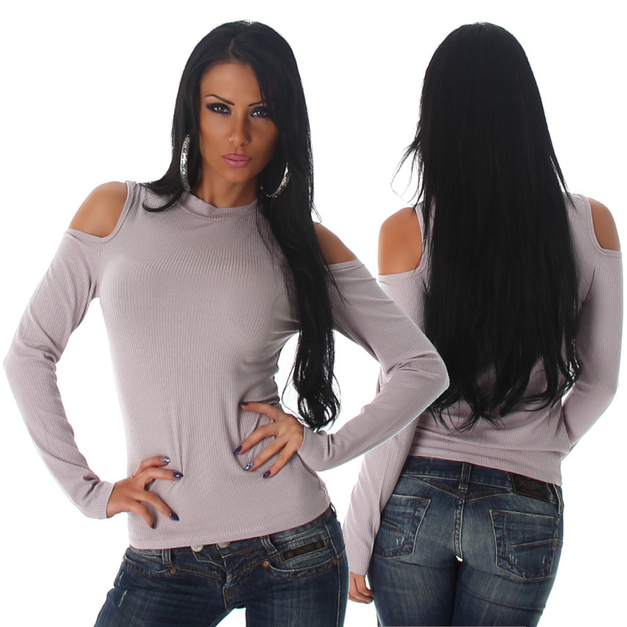 Long Sleeve Open Shoulder Top