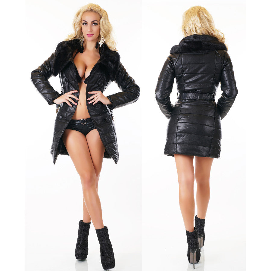 Faux Leather Coat