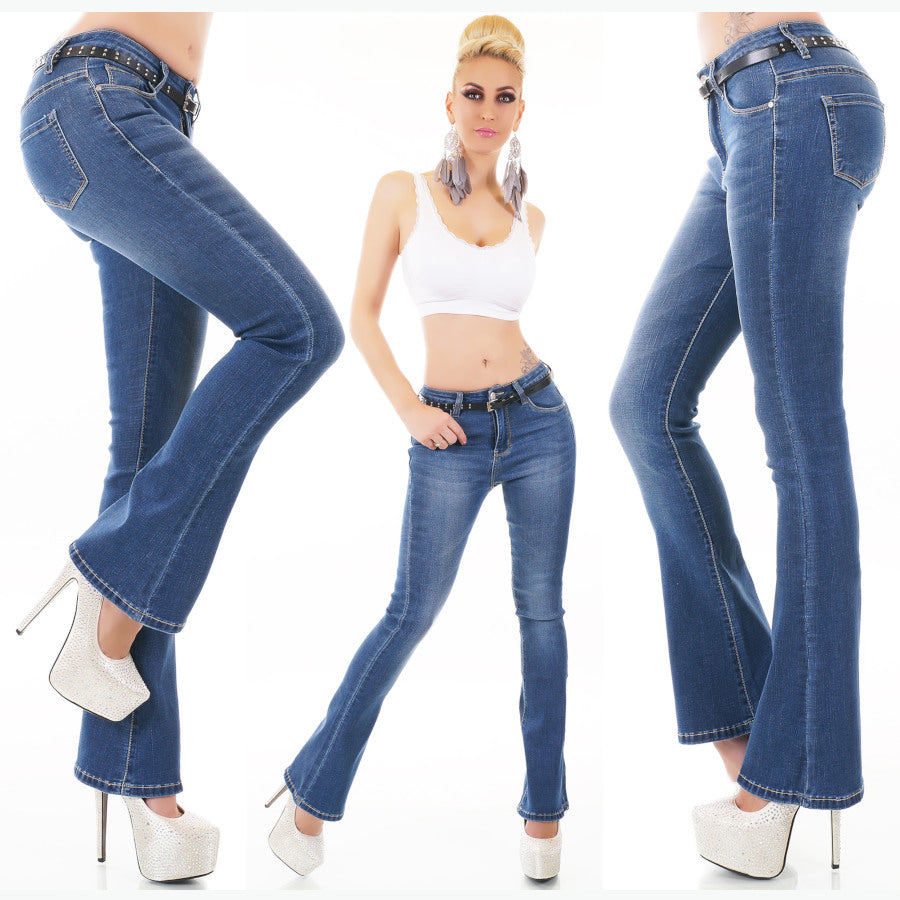 Blue Boot Cut Mid Rise Jeans