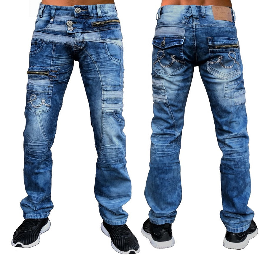 Stretch Denim Blue Washed Jeans
