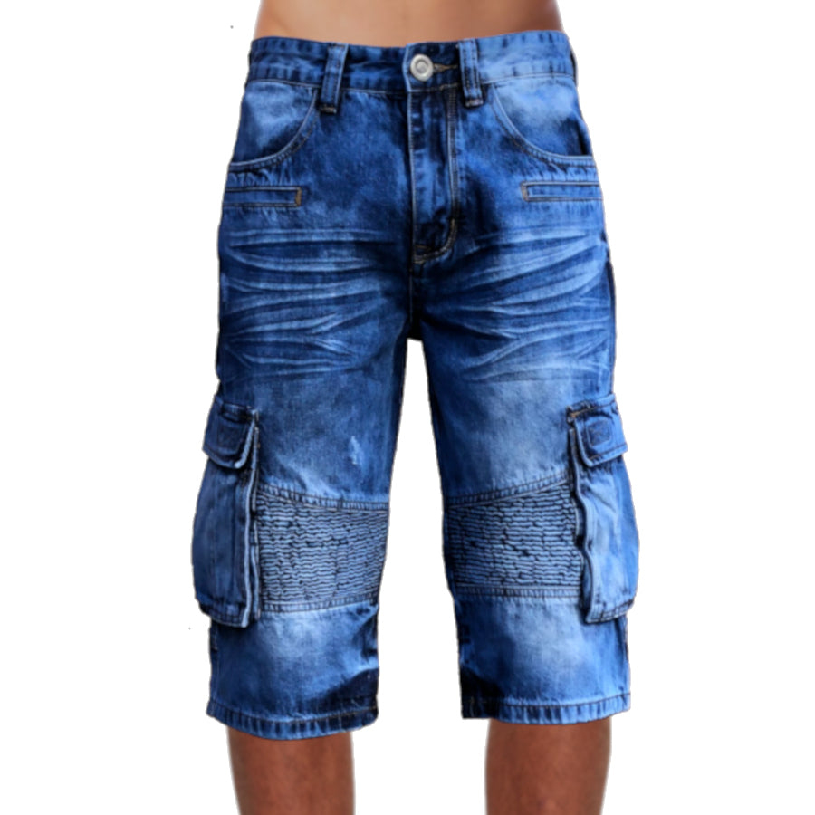 Mens Biker Denim Cargo Shorts Long Length Front View