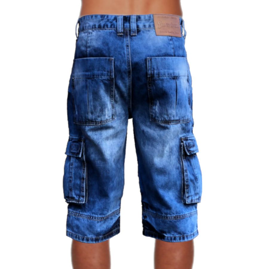 Mens Biker Denim Cargo Shorts Long Length Back View