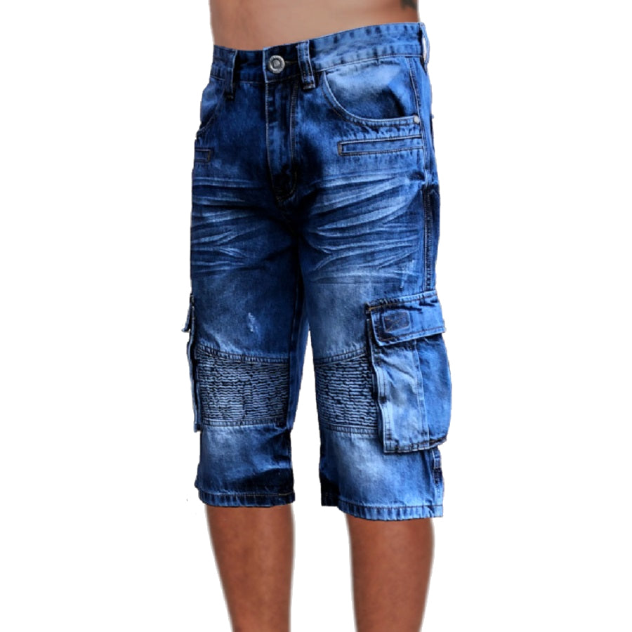 Mens Biker Denim Cargo Shorts Long Length Left Side